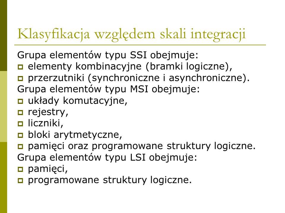 Klasyfikacja względem skali integracji Grupa elementów typu SSI obejmuje: elementy kombinacyjne (bramki logiczne), przerzutniki (synchroniczne i async