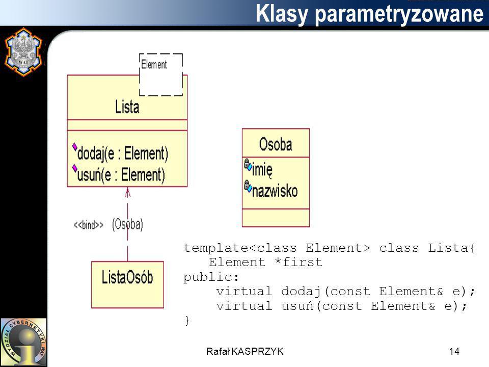 Rafał KASPRZYK14 Klasy parametryzowane template class Lista{ Element *first public: virtual dodaj(const Element& e); virtual usuń(const Element& e); }