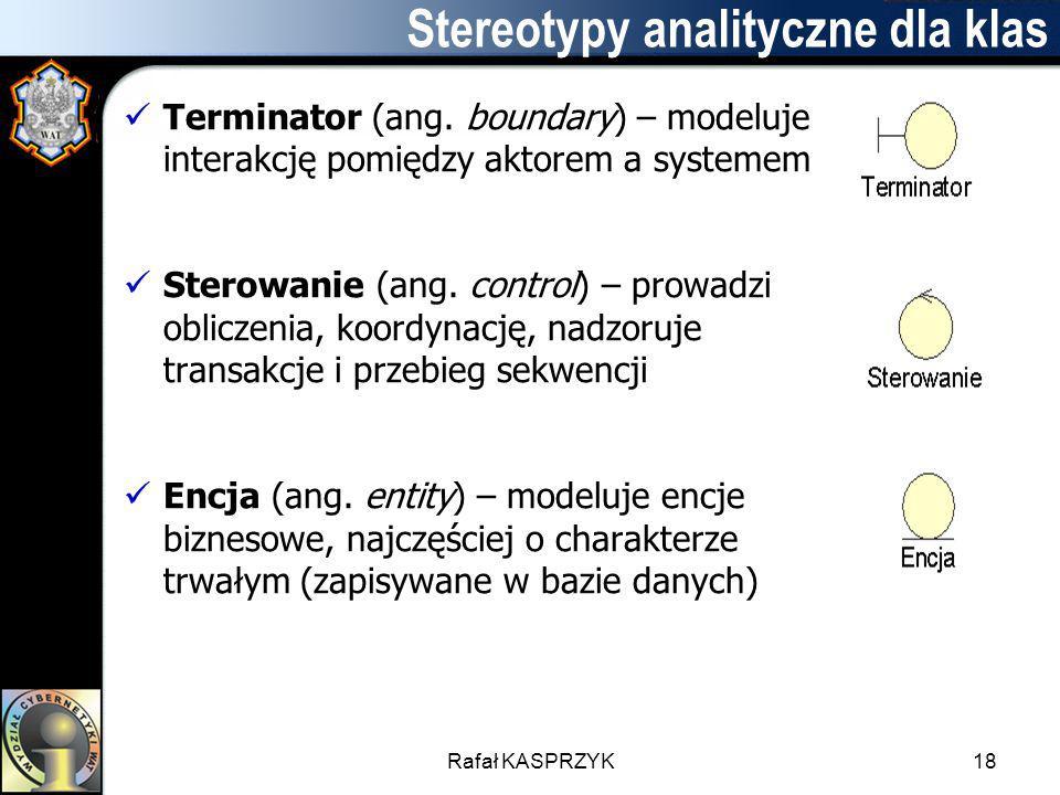 Rafał KASPRZYK18 Stereotypy analityczne dla klas Terminator (ang. boundary) – modeluje interakcję pomiędzy aktorem a systemem Sterowanie (ang. control