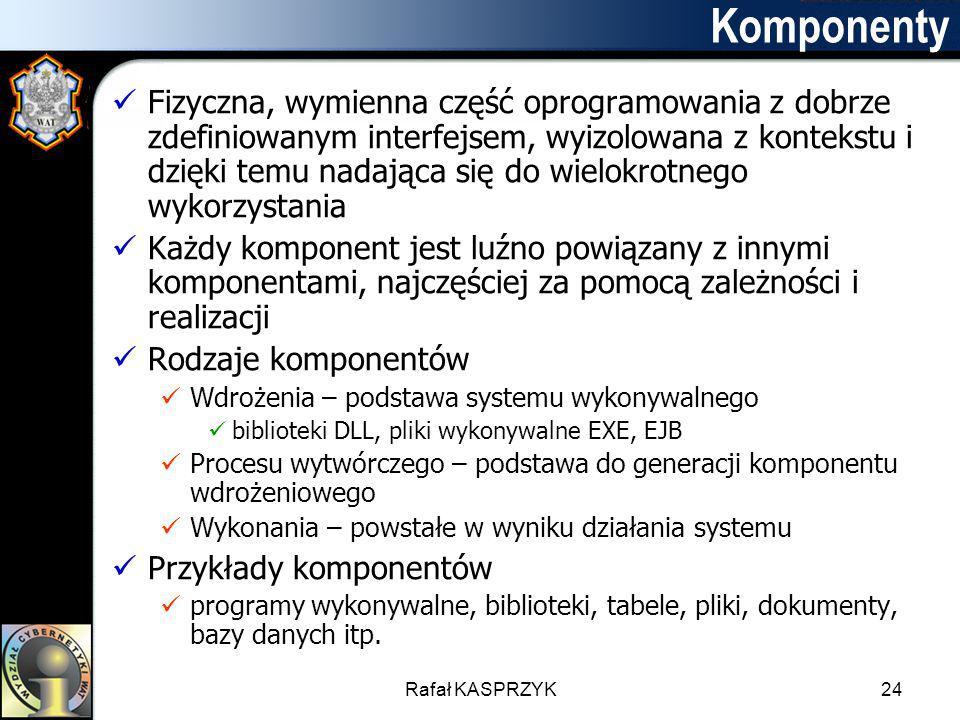 Rafał KASPRZYK24 Komponenty Fizyczna, wymienna część oprogramowania z dobrze zdefiniowanym interfejsem, wyizolowana z kontekstu i dzięki temu nadająca