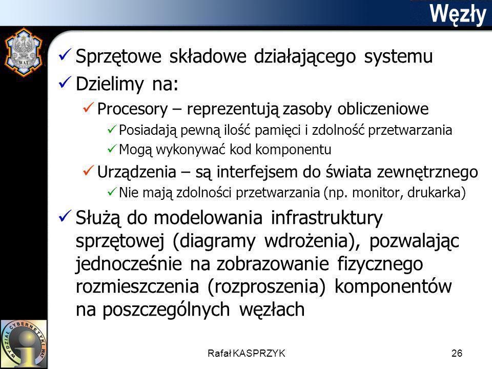 Rafał KASPRZYK26 Węzły Sprzętowe składowe działającego systemu Dzielimy na: Procesory – reprezentują zasoby obliczeniowe Posiadają pewną ilość pamięci