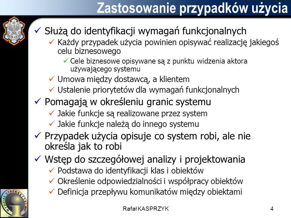 Rafał KASPRZYK4 Zastosowanie przypadków użycia Służą do identyfikacji wymagań funkcjonalnych Każdy przypadek użycia powinien opisywać realizację jakie