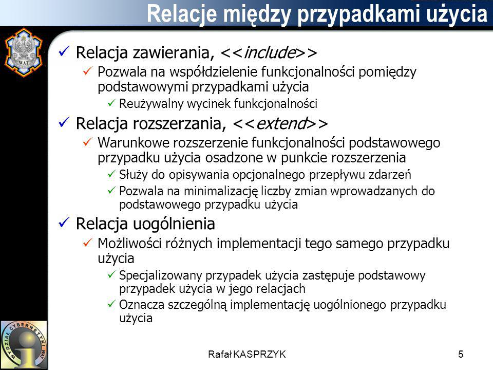 Rafał KASPRZYK5 Relacje między przypadkami użycia Relacja zawierania, > Pozwala na współdzielenie funkcjonalności pomiędzy podstawowymi przypadkami uż