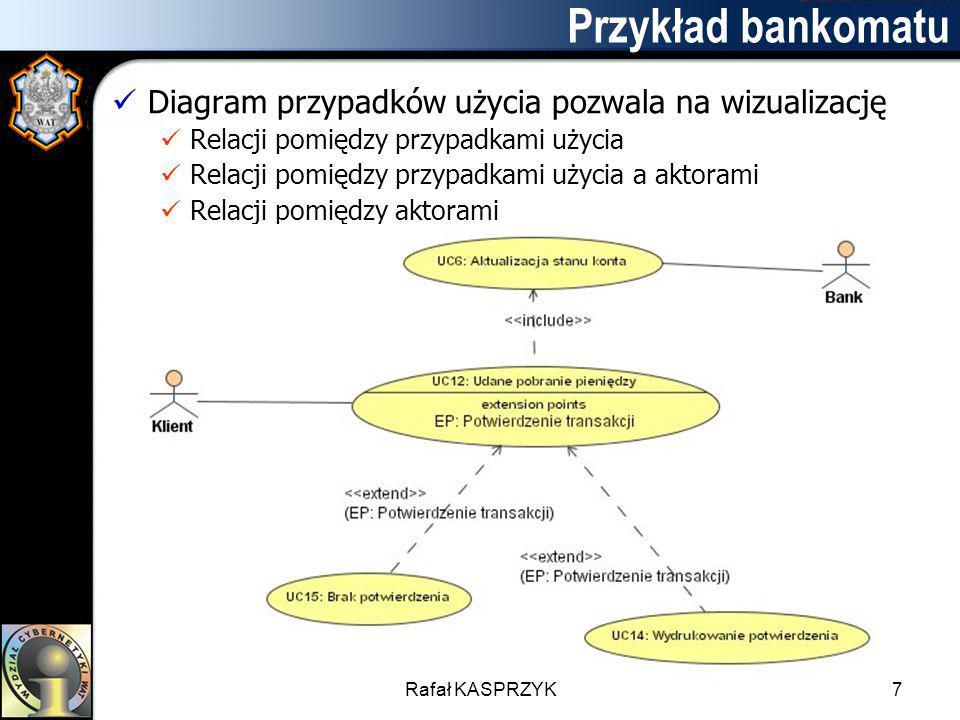 Rafał KASPRZYK7 Przykład bankomatu Diagram przypadków użycia pozwala na wizualizację Relacji pomiędzy przypadkami użycia Relacji pomiędzy przypadkami