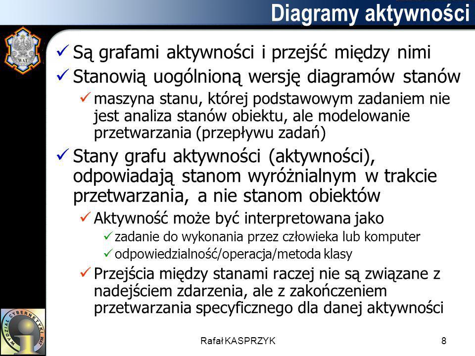 Rafał KASPRZYK8 Diagramy aktywności Są grafami aktywności i przejść między nimi Stanowią uogólnioną wersję diagramów stanów maszyna stanu, której pods
