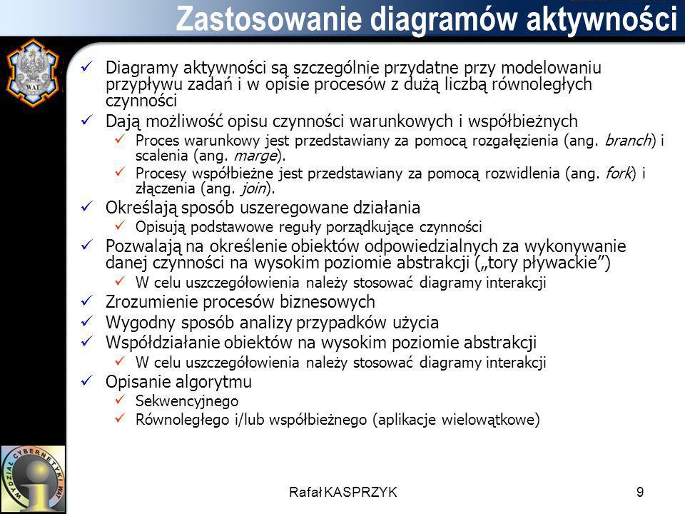 Rafał KASPRZYK9 Zastosowanie diagramów aktywności Diagramy aktywności są szczególnie przydatne przy modelowaniu przypływu zadań i w opisie procesów z