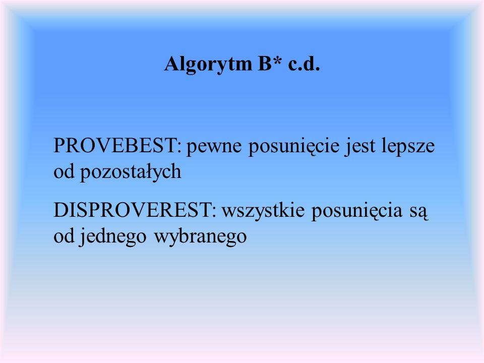 Algorytm B* c.d. PROVEBEST: pewne posunięcie jest lepsze od pozostałych DISPROVEREST: wszystkie posunięcia są od jednego wybranego