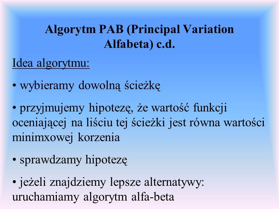 Algorytm PAB (Principal Variation Alfabeta) c.d. Idea algorytmu: wybieramy dowolną ścieżkę przyjmujemy hipotezę, że wartość funkcji oceniającej na liś