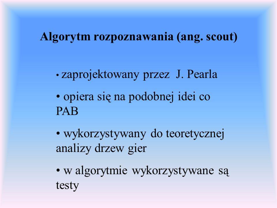 Algorytm rozpoznawania (ang. scout) zaprojektowany przez J. Pearla opiera się na podobnej idei co PAB wykorzystywany do teoretycznej analizy drzew gie