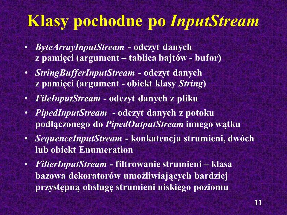 11 Klasy pochodne po InputStream ByteArrayInputStream - odczyt danych z pamięci (argument – tablica bajtów - bufor) StringBufferInputStream - odczyt d