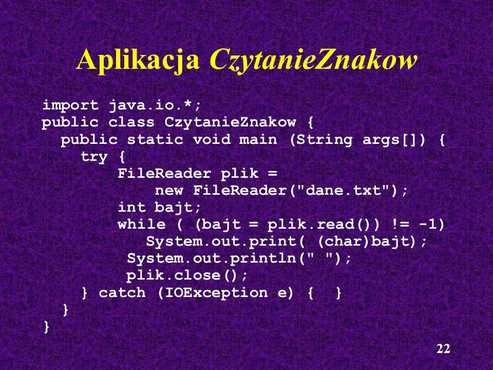 23 Przykład czytania wierszy try { FileReader plik = new FileReader( lista.txt ); BufferedReader bufor = new BufferedReader(plik); boolean koniecPliku = false; while (!koniecPliku) { String wiersz = bufor.readLine(); if (wiersz == null) koniecPliku = true; else System.out.println(wiersz); } bufor.close(); } catch (IOException e) { }