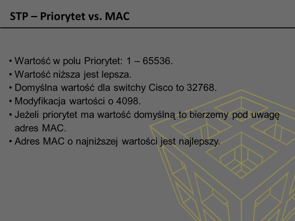 STP – Priorytet vs.MAC Wartość w polu Priorytet: 1 – 65536.