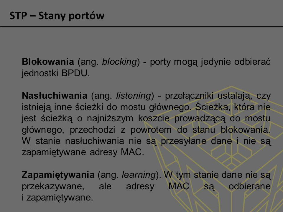 Blokowania (ang.blocking) - porty mogą jedynie odbierać jednostki BPDU.