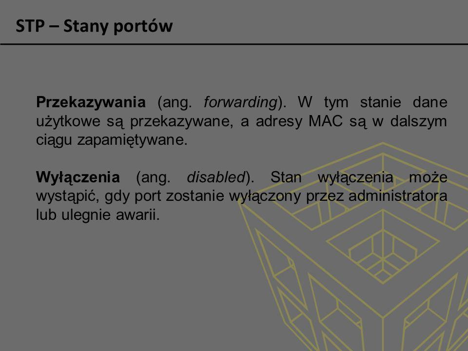 STP – Stany portów Przekazywania (ang.forwarding).