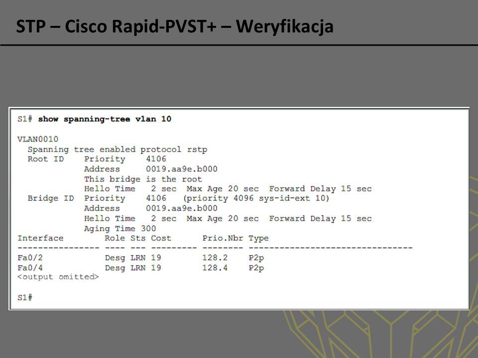 STP – Cisco Rapid-PVST+ – Weryfikacja
