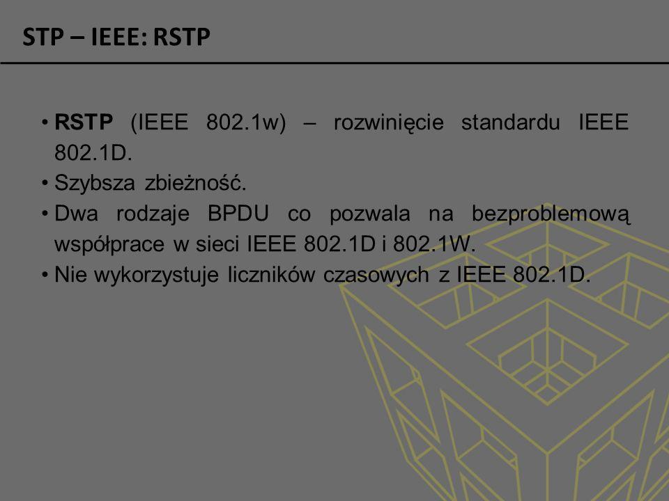 STP – IEEE: RSTP RSTP (IEEE 802.1w) – rozwinięcie standardu IEEE 802.1D.