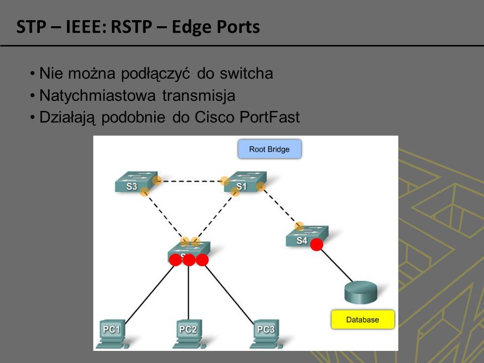 STP – IEEE: RSTP – Edge Ports Nie można podłączyć do switcha Natychmiastowa transmisja Działają podobnie do Cisco PortFast