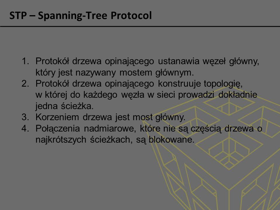 STP – Spanning-Tree Protocol 1.Protokół drzewa opinającego ustanawia węzeł główny, który jest nazywany mostem głównym.
