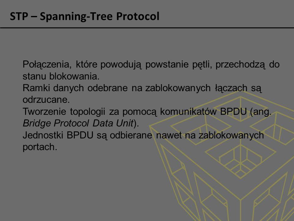 STP – Spanning-Tree Protocol Połączenia, które powodują powstanie pętli, przechodzą do stanu blokowania.