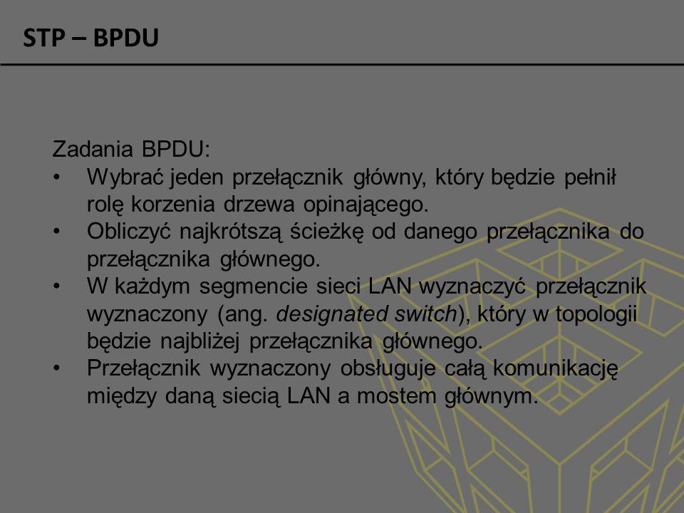 STP – BPDU Zadania BPDU: Wybrać jeden przełącznik główny, który będzie pełnił rolę korzenia drzewa opinającego.