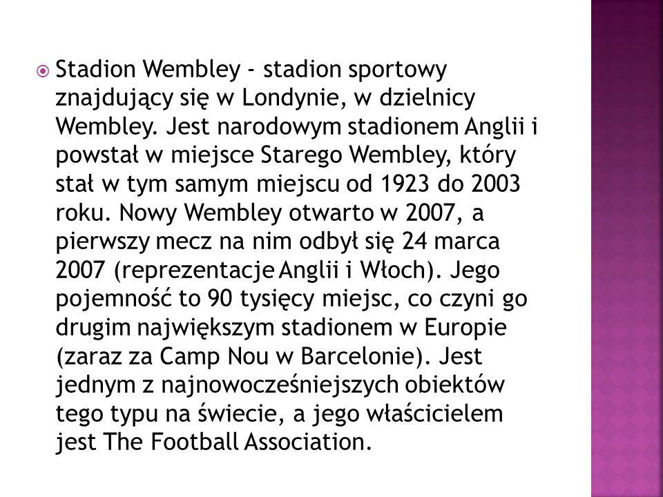 Stadion Wembley - stadion sportowy znajdujący się w Londynie, w dzielnicy Wembley. Jest narodowym stadionem Anglii i powstał w miejsce Starego Wembley