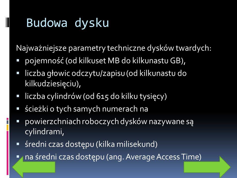 Budowa dysku Najważniejsze parametry techniczne dysków twardych: pojemność (od kilkuset MB do kilkunastu GB), liczba głowic odczytu/zapisu (od kilkuna