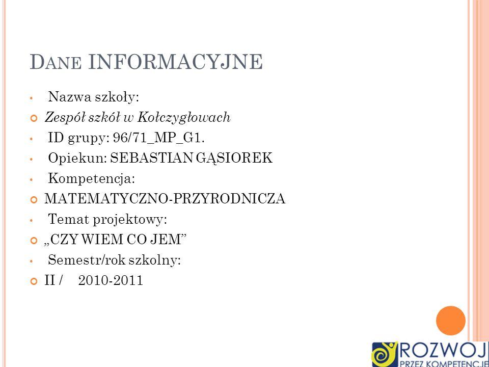 D ANE INFORMACYJNE Nazwa szkoły: Zespół szkół w Kołczygłowach ID grupy: 96/71_MP_G1. Opiekun: SEBASTIAN GĄSIOREK Kompetencja: MATEMATYCZNO-PRZYRODNICZ