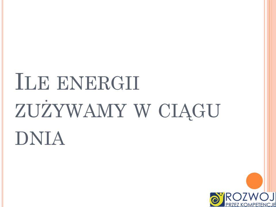 I LE ENERGII ZUŻYWAMY W CIĄGU DNIA