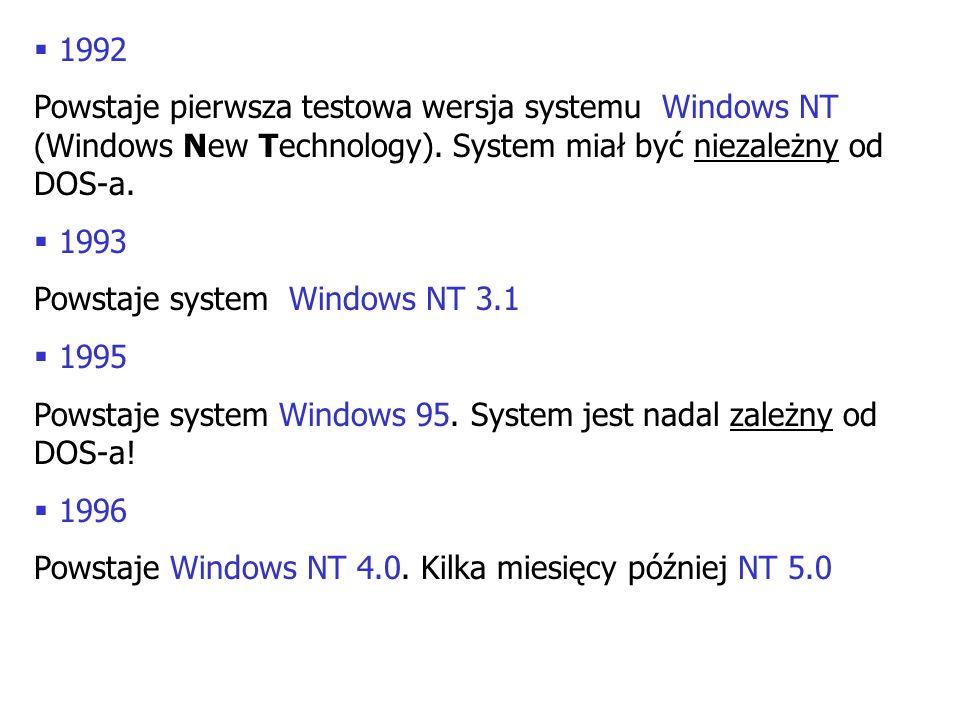1992 Powstaje pierwsza testowa wersja systemu Windows NT (Windows New Technology). System miał być niezależny od DOS-a. 1993 Powstaje system Windows N