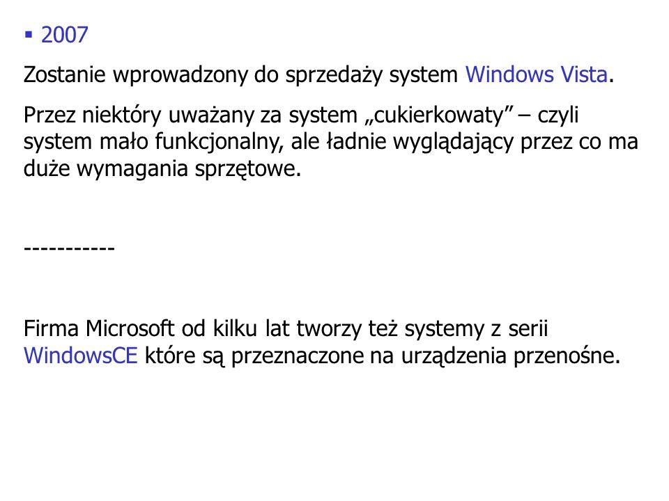 2007 Zostanie wprowadzony do sprzedaży system Windows Vista. Przez niektóry uważany za system cukierkowaty – czyli system mało funkcjonalny, ale ładni