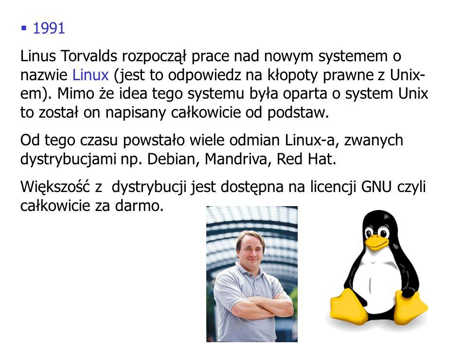 1991 Linus Torvalds rozpoczął prace nad nowym systemem o nazwie Linux (jest to odpowiedz na kłopoty prawne z Unix- em). Mimo że idea tego systemu była