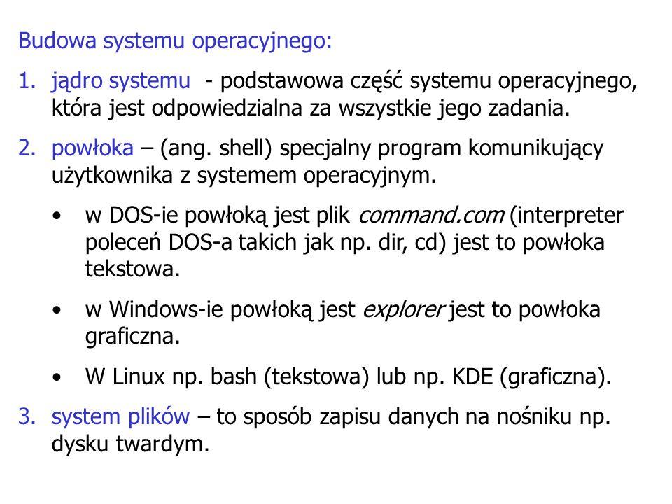 Budowa systemu operacyjnego: 1.jądro systemu - podstawowa część systemu operacyjnego, która jest odpowiedzialna za wszystkie jego zadania. 2.powłoka –