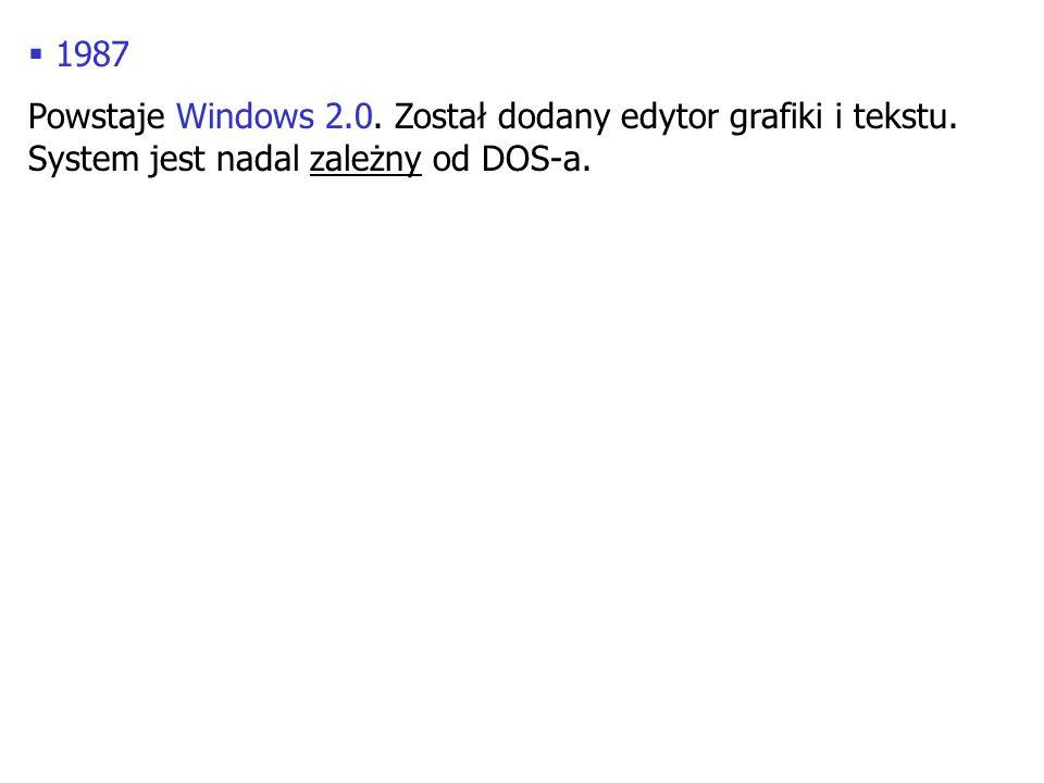 1987 Powstaje Windows 2.0. Został dodany edytor grafiki i tekstu. System jest nadal zależny od DOS-a.