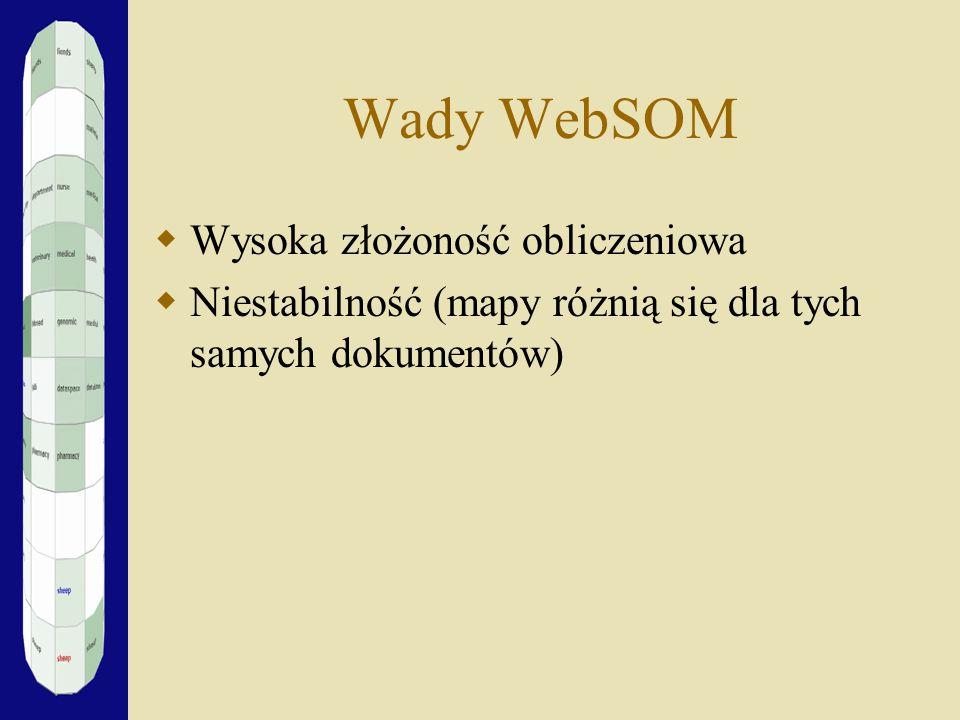 Wady WebSOM Wysoka złożoność obliczeniowa Niestabilność (mapy różnią się dla tych samych dokumentów)