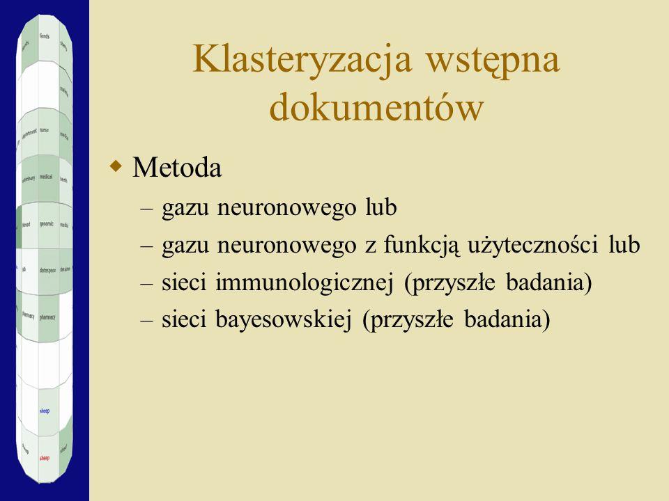 Klasteryzacja wstępna dokumentów Metoda – gazu neuronowego lub – gazu neuronowego z funkcją użyteczności lub – sieci immunologicznej (przyszłe badania