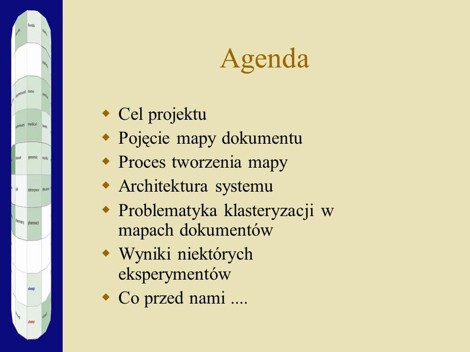Agenda Cel projektu Pojęcie mapy dokumentu Proces tworzenia mapy Architektura systemu Problematyka klasteryzacji w mapach dokumentów Wyniki niektórych