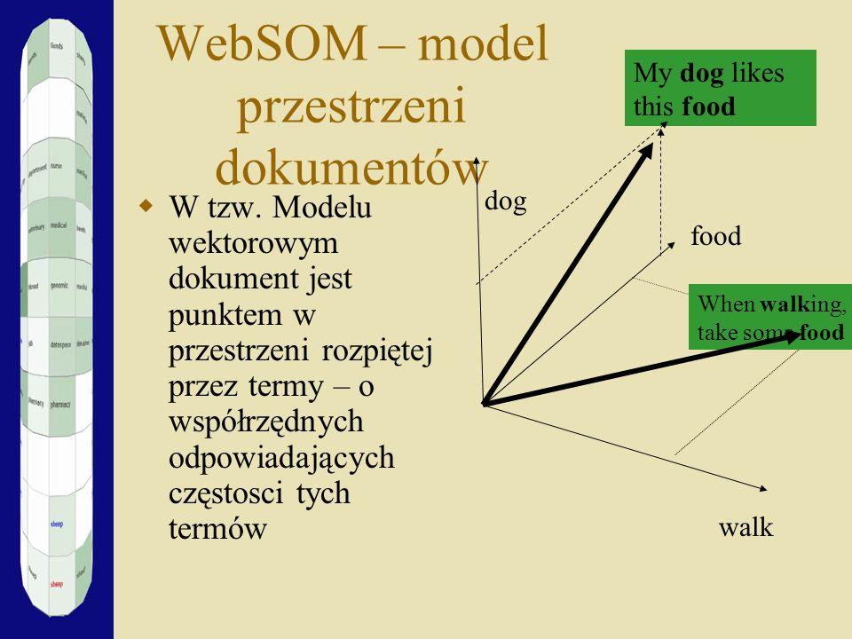 WebSOM – model przestrzeni dokumentów W tzw. Modelu wektorowym dokument jest punktem w przestrzeni rozpiętej przez termy – o współrzędnych odpowiadają