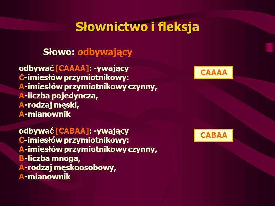 odbywać [CAAAA]: -ywający C-imiesłów przymiotnikowy: A-imiesłów przymiotnikowy czynny, A-liczba pojedyncza, A-rodzaj męski, A-mianownik Słownictwo i fleksja Słowo: odbywający CAAAA CABAA odbywać [CABAA]: -ywający C-imiesłów przymiotnikowy: A-imiesłów przymiotnikowy czynny, B-liczba mnoga, A-rodzaj męskoosobowy, A-mianownik