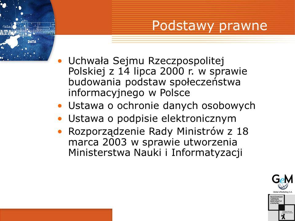 Podstawy prawne Uchwała Sejmu Rzeczpospolitej Polskiej z 14 lipca 2000 r. w sprawie budowania podstaw społeczeństwa informacyjnego w Polsce Ustawa o o