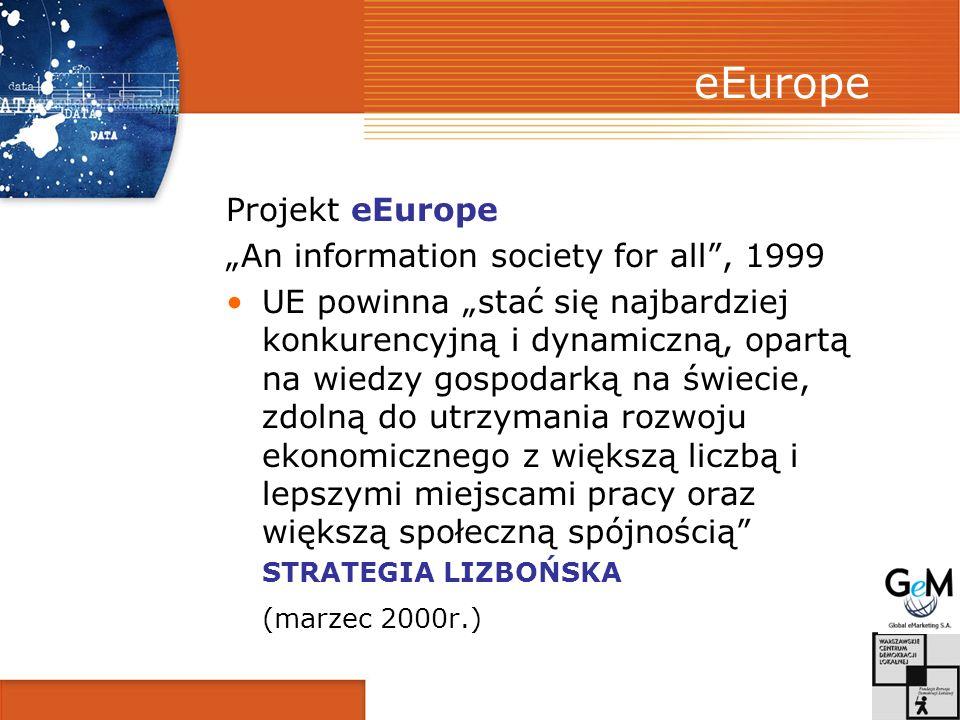 eEurope Projekt eEurope An information society for all, 1999 UE powinna stać się najbardziej konkurencyjną i dynamiczną, opartą na wiedzy gospodarką n