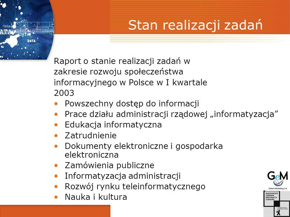 Stan realizacji zadań Raport o stanie realizacji zadań w zakresie rozwoju społeczeństwa informacyjnego w Polsce w I kwartale 2003 Powszechny dostęp do