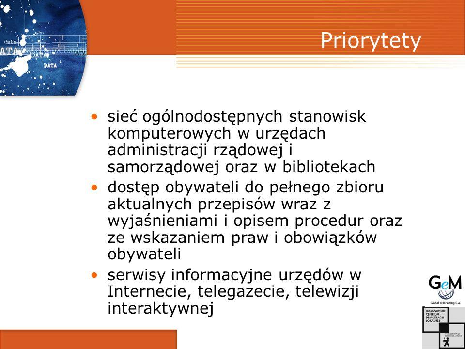 Priorytety sieć ogólnodostępnych stanowisk komputerowych w urzędach administracji rządowej i samorządowej oraz w bibliotekach dostęp obywateli do pełn