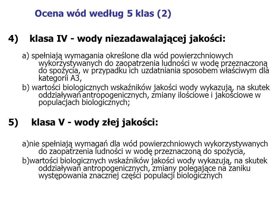 Ocena wód według 5 klas (2) 4) klasa IV - wody niezadawalającej jakości: a) spełniają wymagania określone dla wód powierzchniowych wykorzystywanych do