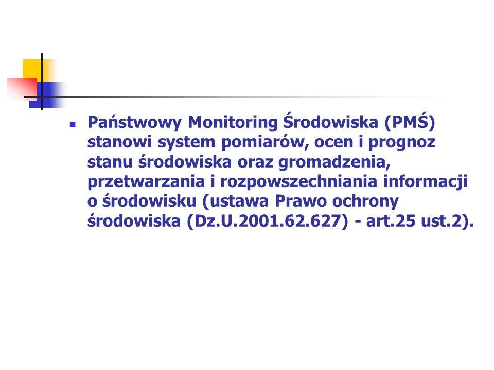 Państwowy Monitoring Środowiska (PMŚ) stanowi system pomiarów, ocen i prognoz stanu środowiska oraz gromadzenia, przetwarzania i rozpowszechniania informacji o środowisku (ustawa Prawo ochrony środowiska (Dz.U.2001.62.627) - art.25 ust.2).