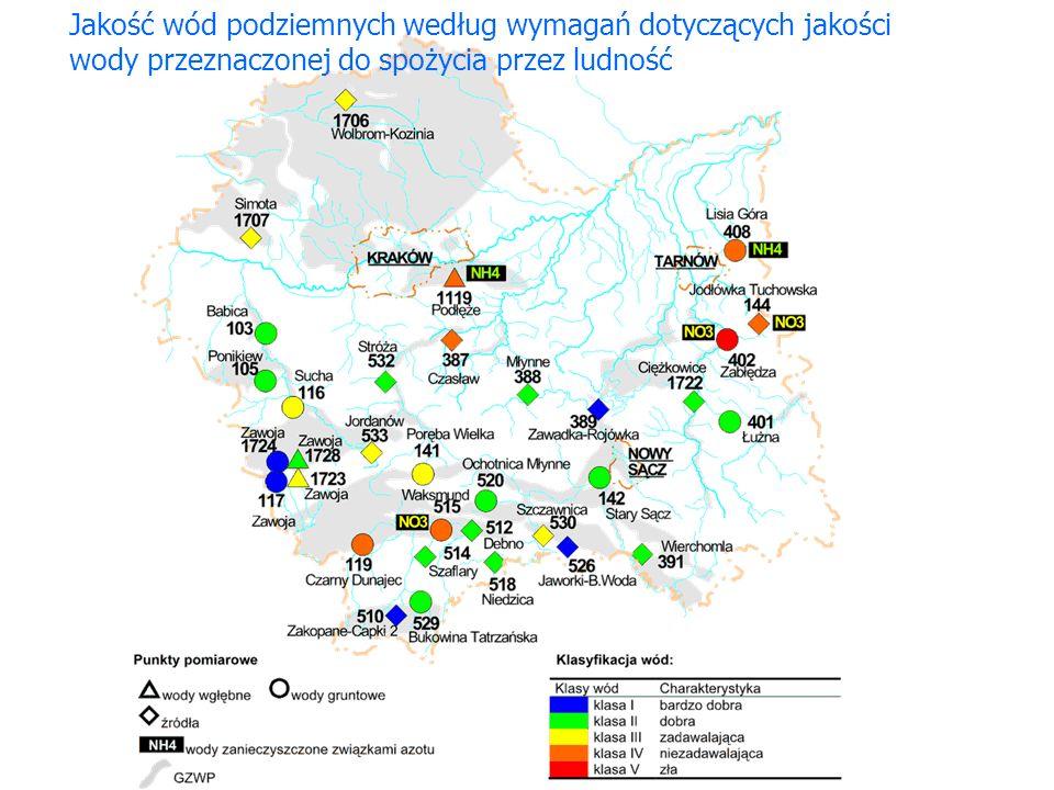 Jakość wód podziemnych według wymagań dotyczących jakości wody przeznaczonej do spożycia przez ludność