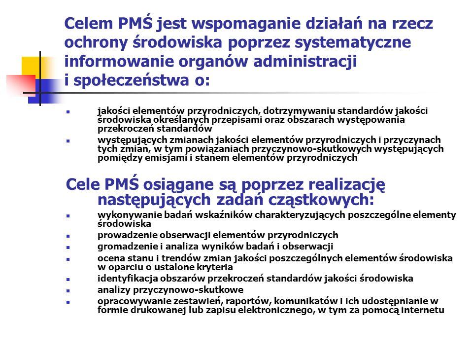Celem PMŚ jest wspomaganie działań na rzecz ochrony środowiska poprzez systematyczne informowanie organów administracji i społeczeństwa o: jakości elementów przyrodniczych, dotrzymywaniu standardów jakości środowiska określanych przepisami oraz obszarach występowania przekroczeń standardów występujących zmianach jakości elementów przyrodniczych i przyczynach tych zmian, w tym powiązaniach przyczynowo-skutkowych występujących pomiędzy emisjami i stanem elementów przyrodniczych Cele PMŚ osiągane są poprzez realizację następujących zadań cząstkowych: wykonywanie badań wskaźników charakteryzujących poszczególne elementy środowiska prowadzenie obserwacji elementów przyrodniczych gromadzenie i analiza wyników badań i obserwacji ocena stanu i trendów zmian jakości poszczególnych elementów środowiska w oparciu o ustalone kryteria identyfikacja obszarów przekroczeń standardów jakości środowiska analizy przyczynowo-skutkowe opracowywanie zestawień, raportów, komunikatów i ich udostępnianie w formie drukowanej lub zapisu elektronicznego, w tym za pomocą internetu