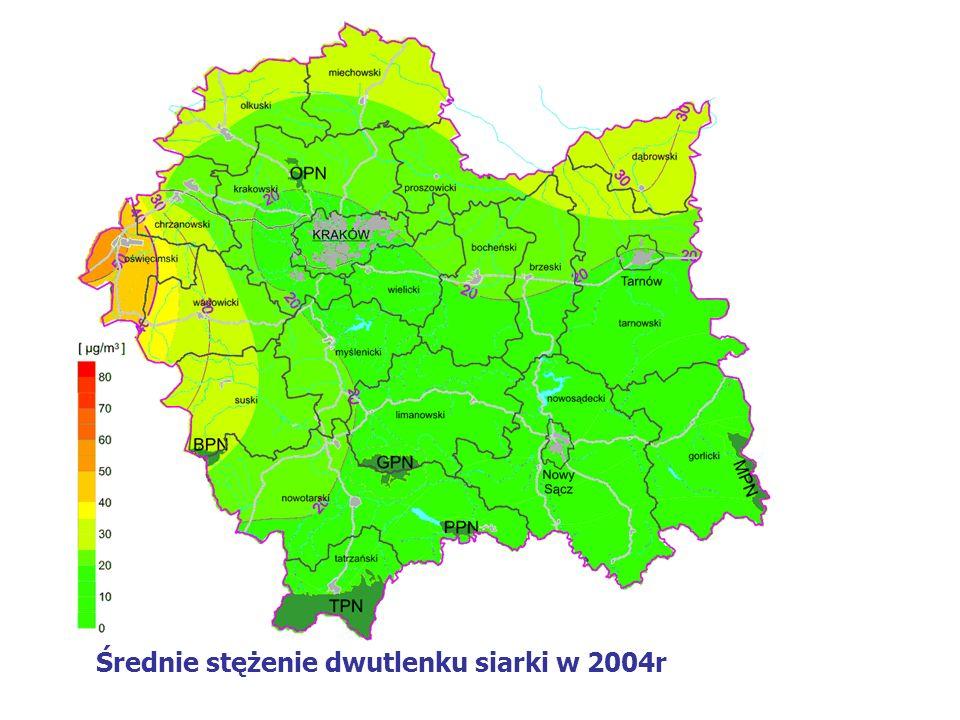Średnie stężenie dwutlenku siarki w 2004r