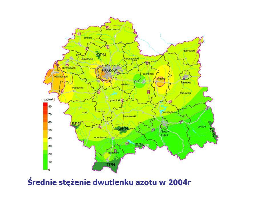 Średnie stężenie dwutlenku azotu w 2004r