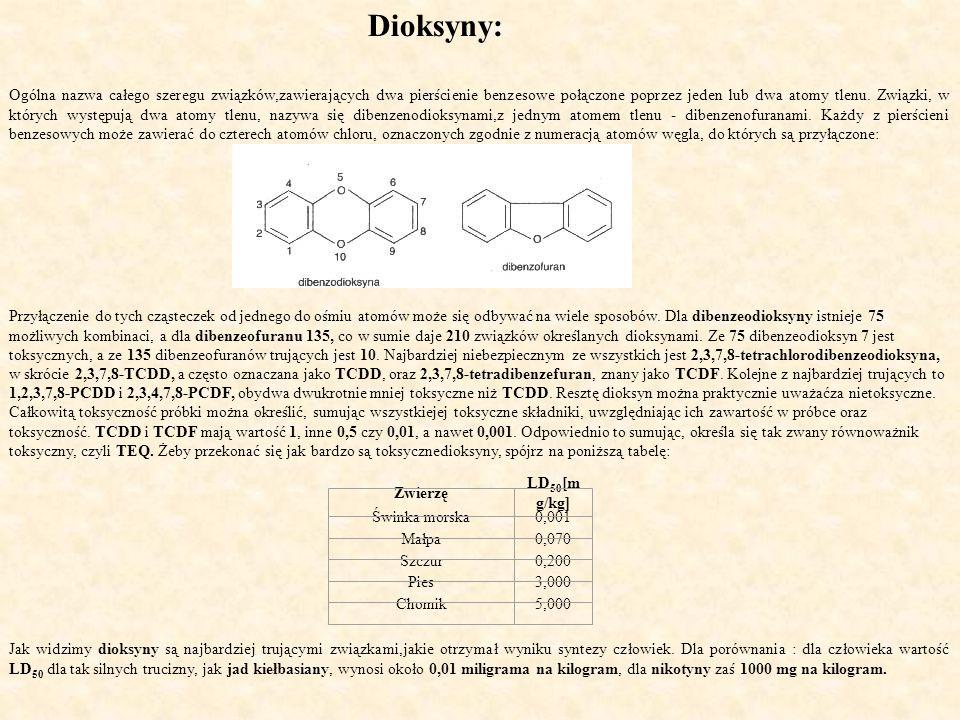 Dioksyny: Ogólna nazwa całego szeregu związków,zawierających dwa pierścienie benzesowe połączone poprzez jeden lub dwa atomy tlenu.