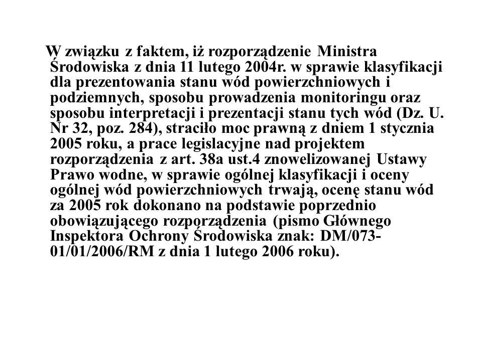 W związku z faktem, iż rozporządzenie Ministra Środowiska z dnia 11 lutego 2004r. w sprawie klasyfikacji dla prezentowania stanu wód powierzchniowych
